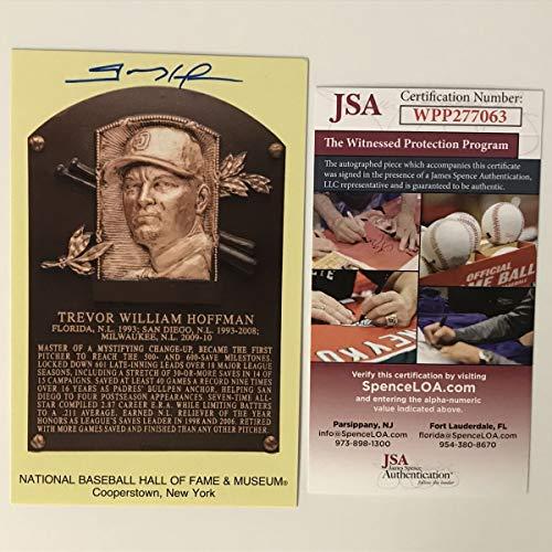 Autographed/Signed Trevor Hoffman HOF Hall Of Fame Baseball Plaque Postcard JSA COA from Phanatic Sports Memorabilia