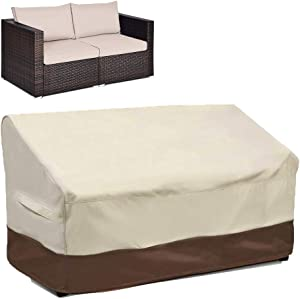 Sqodok 2-Seater Patio Loveseat Cover, 100% Waterproof Outdoor Deep Bench Cover Heavy Duty Sofa Cover, Lawn Couch Furniture Covers with Handle and Windproof Strap, 60