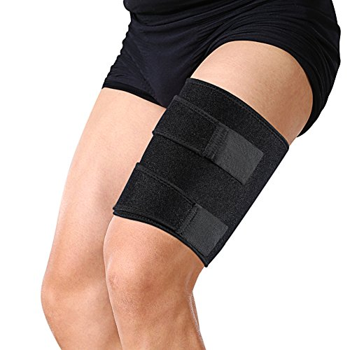 Thigh Brace with Silicone Anti-slip Strips Adjustable Hamstring Compression Wrap for Pulled Injury Strain Tendonitis Rehab and Recovery, Thigh Support Fits Men - Female Groin Pad