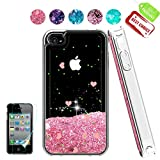iPhone 4 Case,Apple iPhone 4 4S Case, Atump Glitter Flowing Liquid Floating Protective Shockproof Clear TPU Girls Cover Case for Apple iPhone 4/4S Pink