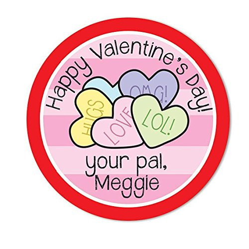 Candy Heart Valentine Stickers, Conversation Heart gift bag stickers, Personalized Valentine Day Stickers, Girls Valentine's Day Gift Tag (Personalized Conversation Hearts)