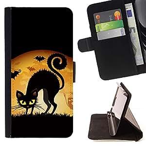 Momo Phone Case / Flip Funda de Cuero Case Cover - Dibujo del gato negro de Halloween Ojos amarillos Bruja Arte - Samsung ALPHA G850