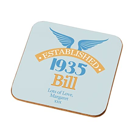 Personalised 80th Birthday Coaster Gifts Presents For Him Amazoncouk Kitchen Home