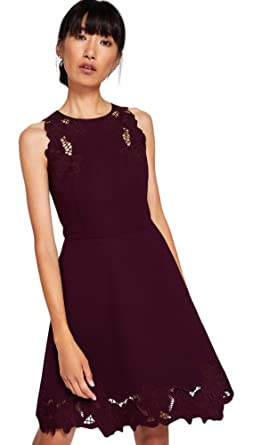 4f03ed5fc6 Ted Baker Emmona Embroidered Skater Dress Maroon (3)  Amazon.co.uk  Clothing