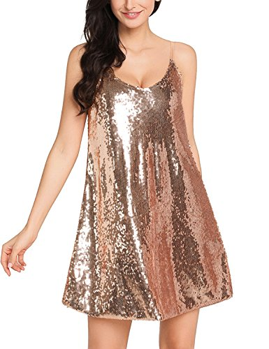 Lookbook Store Women Sexy V Neck Sequin Glitter Slip Mini Club Party (Glitter Party Dress)