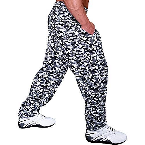 Otomix Men's Baggy Bodybuilding Workout Pants Grey Camo (Large)