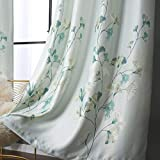 Taisier Home Ginkgo Leaves Printed Bedroom Darkening Curtains,Decorative Window Curtains for Living Room, Curtain Drapes Panels for Bedroom Hotel Living Room, 2 Panels, W52 x L72 inch,Blue Green
