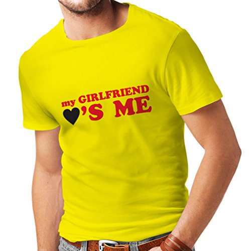 T Shirts for Men My Girlfriend Loves me! Boyfriend Gifts for St. Valentine (X-Large Yellow Red)
