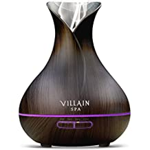 Villain Ultrasonic Aroma Essential Oil Diffuser - 400ml with 7 Color Changing LED Lights, Mist Control, Auto OFF
