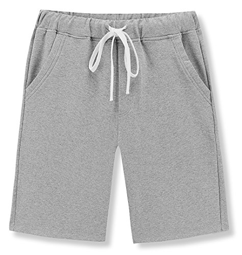 Janmid Men's Casual Classic Fit Cotton Elastic Jogger Gym Shorts Light Grey 2XL