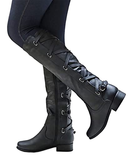 e974ab6b43f Syktkmx Womens Winter Lace Up Strappy Knee High Motorcycle Riding Flat Low  Heel Boots