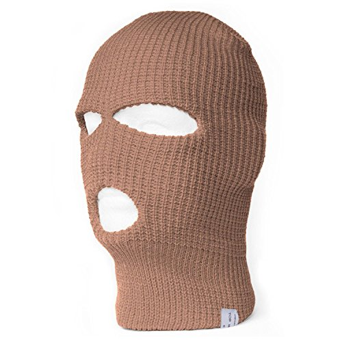 TopHeadwear 3-Hole Ski Face Mask Balaclava, Beige