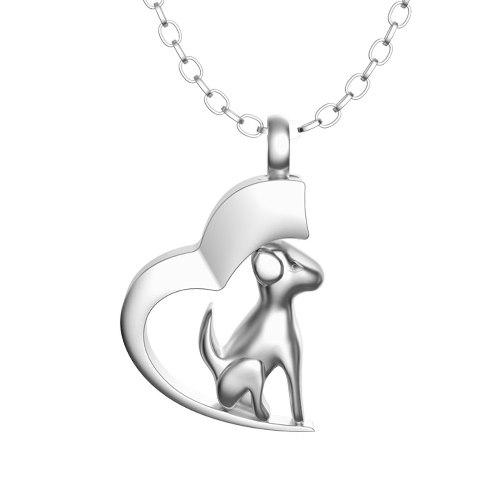Inconly Cremation Urn Necklace Ash Necklace Urn Stainless Steel Pendants Cremation Jewelry (Dog) by Inconly