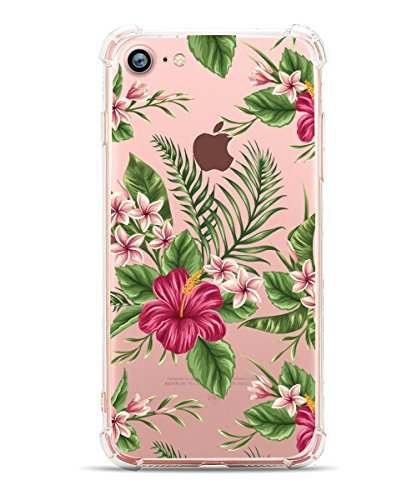iPhone 8 Case iPhone 7 Case, Hepix Tropical Palm Floral Print Soft Clear TPU Protective Bumper Cover Case [4.7 inch]