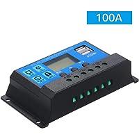 Qnotici 100A 12V / 24V Controlador de Carga Solar Regulador Inteligente PWM con USB 5V 2.5A