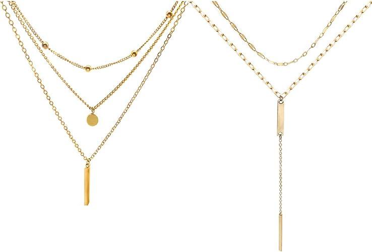 Women Long Chain Lariat Drop Charm Bar Necklace Pendant Layering Fashion Jewelry