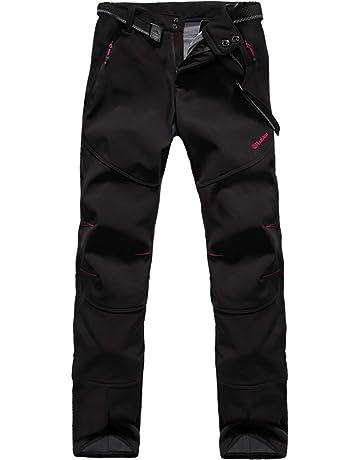 Volwassan Womens Waterproof Hiking Trousers Elasticated Waist Walking Work Softshell Trousers Thick Winter Ski Pants Camping Black