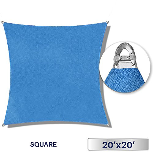 Windscreen4less A-Ring Reinforcement Large Sun Shade Sail 20 x 20 Rectangle Super Heavy Duty Strengthen Durable 260GSM -Galvanized Cable Enhanced – Blue 7 Year Warranty