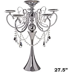 "Tableclothsfactory 27.5"" Tall Silver Metal Candelabra Chandelier Votive Candle Holder Wedding Centerpiece - with Acrylic Chains"