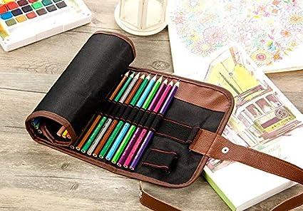 Estuche enrollable para 36 lápices de colores, bolsas organizadoras, lona, portalápices y bolsitas (sin estilo), color Negro: Amazon.es: Oficina y papelería