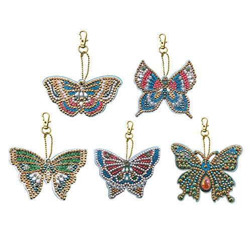 (DIY Diamond Painting Keychains, Special Shaped Butterfly Diamond Painting Ornaments, Small Diamond Art for Kids and Adult Beginners)
