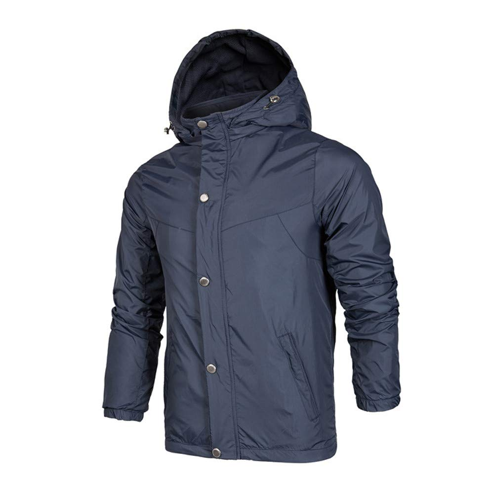 PASATO New Mens Waterproof Splicing Pullover Long Sleeve Hooded Sweatshirt Tops Blouse