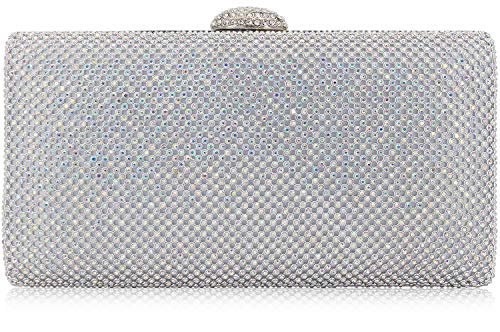 Dexmay Large Rhinestone Crystal Clutch Evening Bag for Cocktail Prom Party Women Clutch Purse AB Silver ()