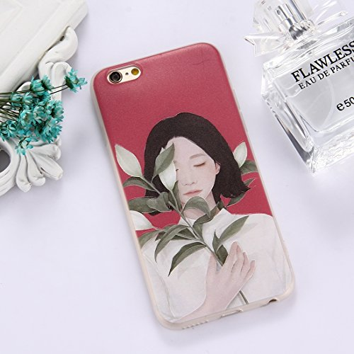 GHC Cases & Covers, Für iPhone 6 & 6s, TPU bereifte geprägte Tulpe-Mädchen-Muster-schützende Fall-rückseitige Abdeckung ( Size : Ip6g5303a )
