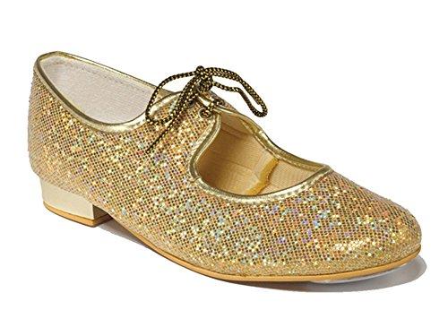 children's Girls Paillettes dorées pour chaussures à talon bas-Taille 5 junior 5 l