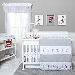 Trend Lab Dr. Seuss The Cat in The Hat Comes Back 4 Piece Bedding Set, Gray/Red/White