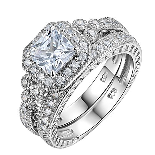 Newshe Women Wedding Engagement Ring Set 925 Sterling Silver Vintage Princess White AAA Cz Size ()