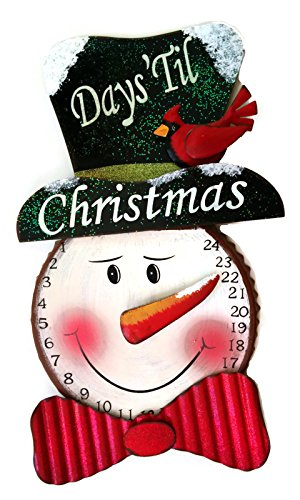 """GIL 2099750 17"""" H Metal Snowman Count Down Christmas, 10.1InL x 1.6InW x 16.5InH, Multicolor"""