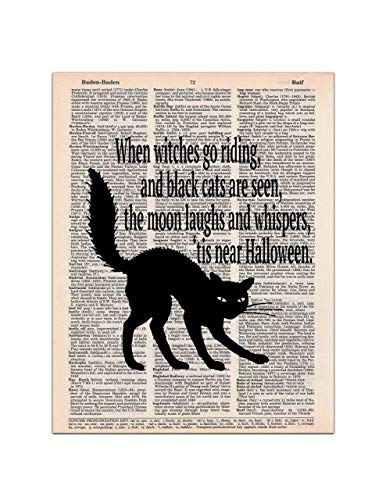 Halloween Black Cat and Poem, Dictionary Page Art Print, 8x11 UNFRAMED ()