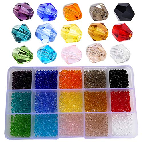 (Wholesale 4mm Bicone Faceted Crystal Glass Beads for Jewelry Making, DIY Craft Beads for Necklace 15 Colors Mix Lot in Box (Total 1500pcs))