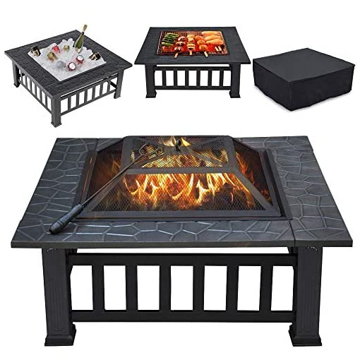 Fire Pits Yaheetech 32in Outdoor Firepit Square Table Backyard Patio Garden Stove Wood Burning Fire Pit with Spark Screen, Log… firepits