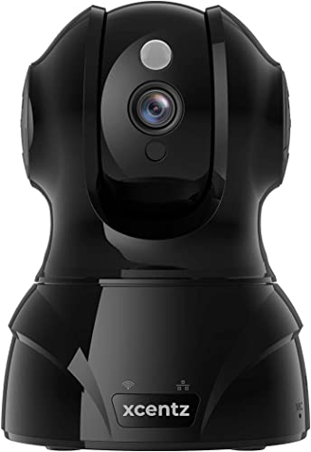 Xcentz Security Camera 1080P Wireless Home Indoor Security Camera WiFi IP Pet Camera Baby Monitor with Two Way Audio, Night Vision, Cloud Storage, Compatible with Alexa Black