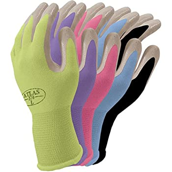 Atlas Nitrile Gardening and Work Gloves, Green Apple, Small