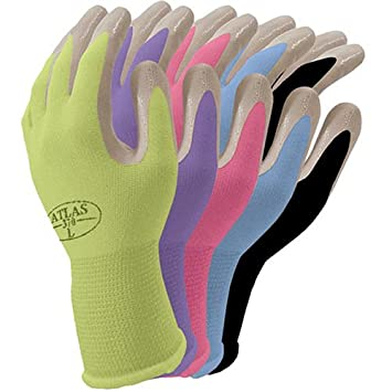 Beautiful Atlas Nitrile Gardening And Work Gloves, Green Apple, Small