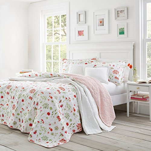 3 Piece Red Green Flower Theme Quilt Set King, White Pink Floral Pattern Bedding Poppy Flowers Tropical Summer Spring Bed Lake House Cottage Themed Shabby Chic French Country Reversible, Cotton