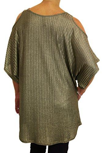 ICE (4079-3) hombros de la túnica extensible desnudo sin tirantes de color caqui efecto metálico (tamaños 36-46)