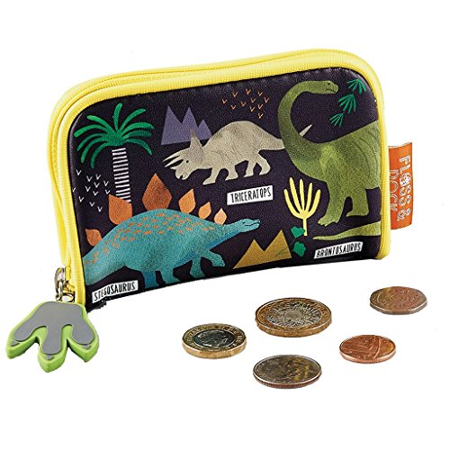 Dinosaurs Patterned Yellow 5 x 3 Inch Zip Around Wallet Pouch ()