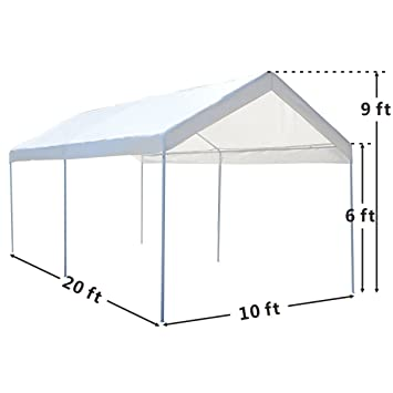 10 x 20 Steel Frame Canopy Shelter Portable Car Carport Garage Cover ...