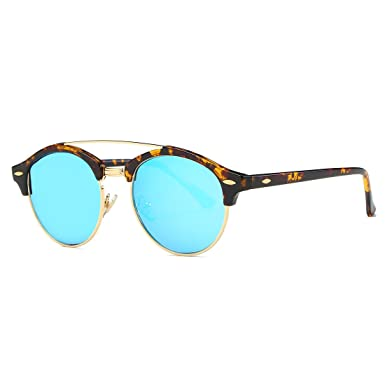 Kimorn Polarisiert Sonnenbrille Unisex Retro Halb-Randlos Twin-Balken Eyewear AE0504 (Schildpatt&Blau, 51)