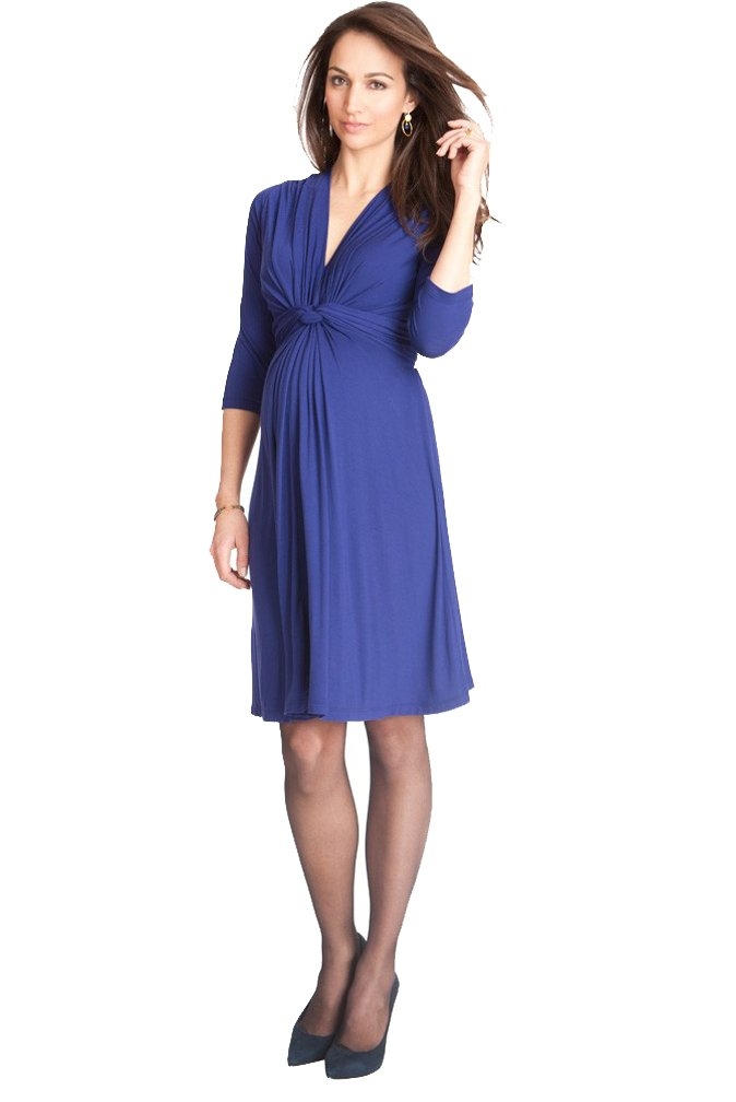 Seraphine Jolene Knot Front Maternity and Nursing Dress - 3/4 Sleeve - Royal Blue - 10 by Seraphine