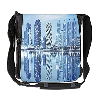 free shipping Lovebbag Night Scene Of City Buildings Architecture Twilight Water Reflection Metropolitan Crossbody Messenger Bag