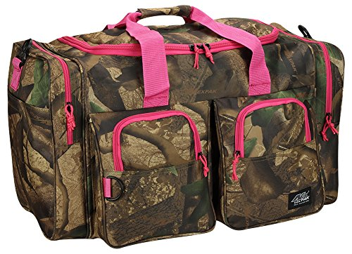 Bag Woodland Shoulder (Womens Large Outdoor 30 Inch Pink Camo Duffel Duffle Gear Sport Gym Shoulder Bag with Key Ring Carabiner)