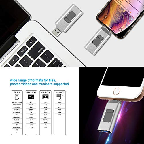 iPhone Flash Drive 256GB for iOS Memory Stick USB3.0 Photo Stick Thumb Drive External Storage Compatible iPhone iPad iOS MacBook Android and Computer