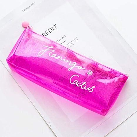 Estuches Púrpura Transparente Estuche de Lápices para la Escuela de Inglés Carta Caja de Lápices Kawaii PVC Lápiz Negro Caja de la Caja Papelería Útiles Escolares: Amazon.es: Oficina y papelería