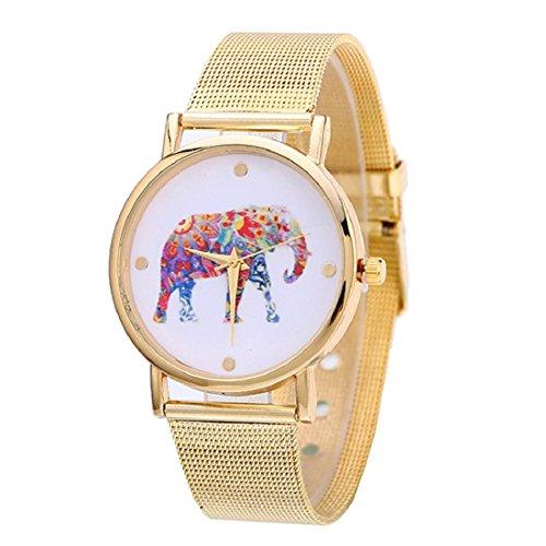 Analog Floral Dial (Orangesky Fashion Women Gold Stainless Steel Analog Quartz Wrist Watch (E))