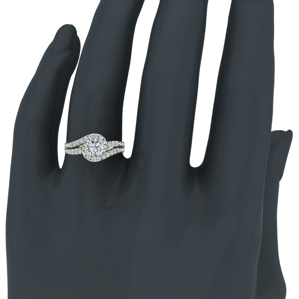 Ocean Wave Intertwined Diamond Engagement Ring for women 14K White Gold 1.32 Carat Total 3/4 ct Center Round Brilliant Cut (Ring Size 5.5) by Glitz Design (Image #2)